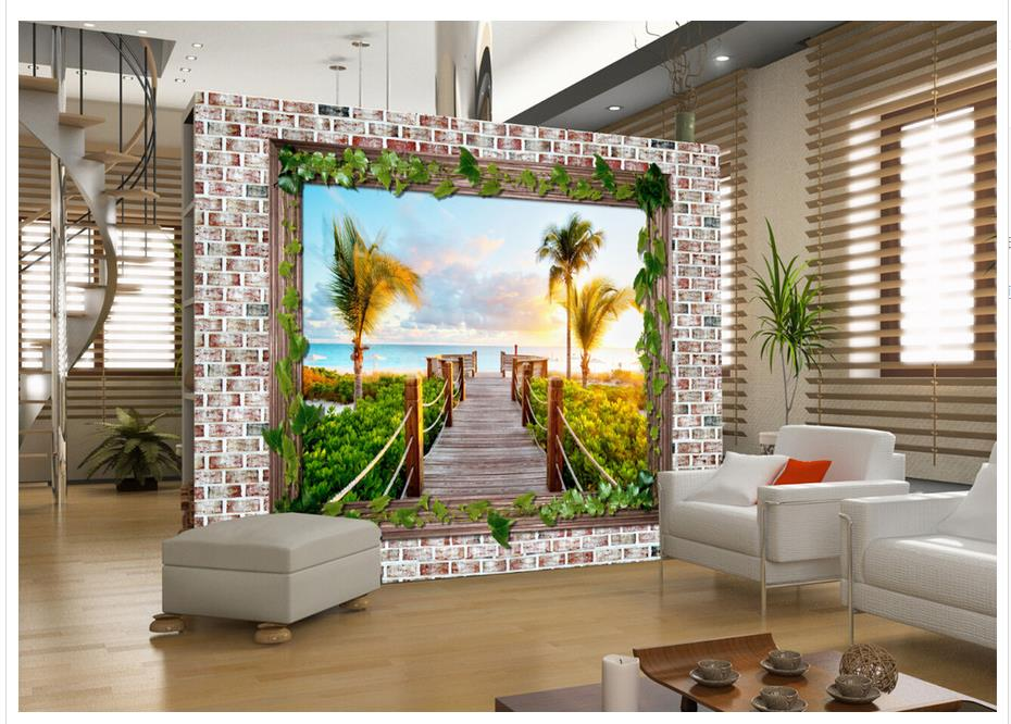 Modern Living Room Murals online get cheap window landscape wallpaper -aliexpress