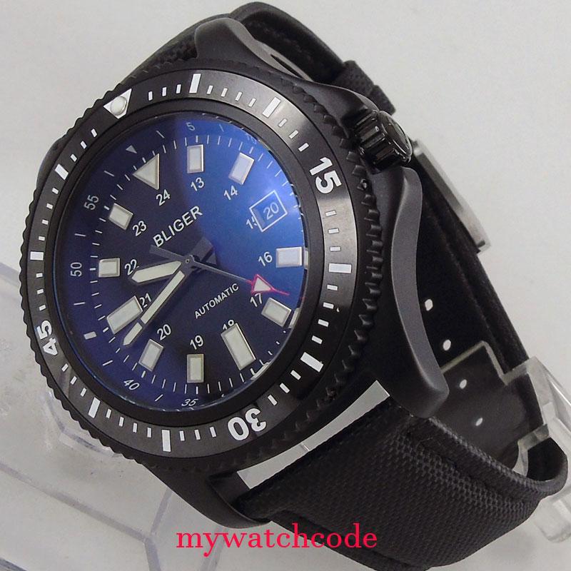 44mm Bliger black dial black luminous marks PVD case ceramic bezel date window automatic mens watch цена и фото