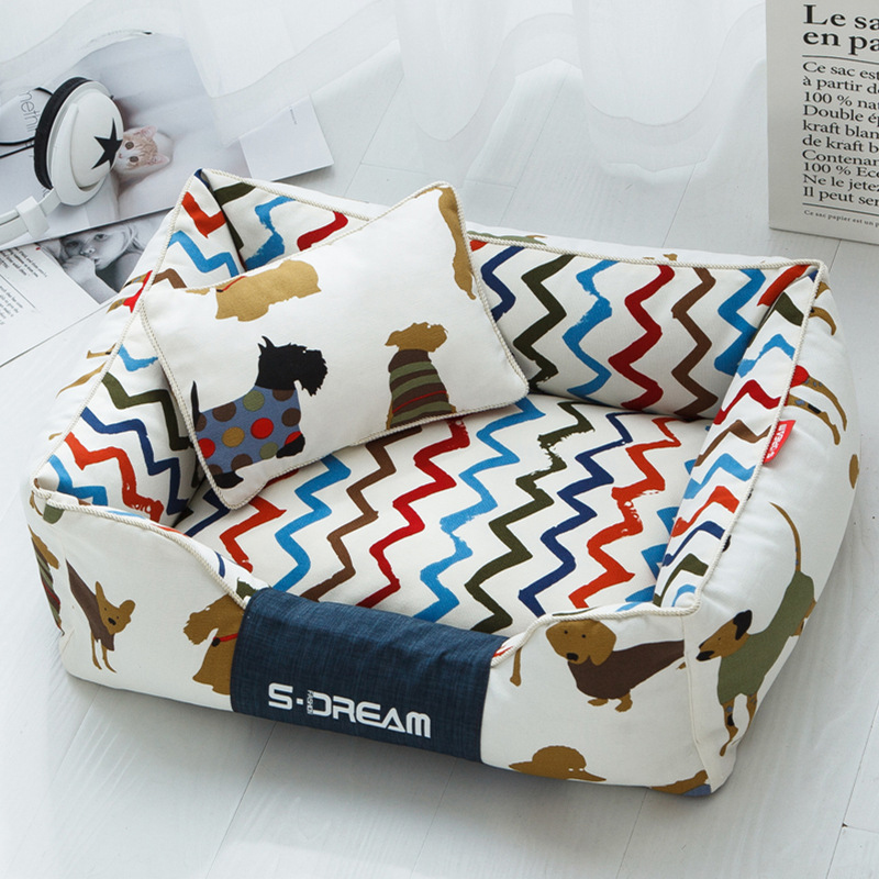 High Quality Soft Winter Worm Stripe Bed House For Dogs Beds & Sofas