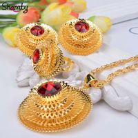 NEW Ethiopian Jewelry Bule Green Red Stone 24k Gold Plated African Set Nigeria Sudan Eritrea Kenya