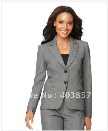 Popular Women Suit Long Sleeve Jacket & Trouser Leg Pants Gray ...