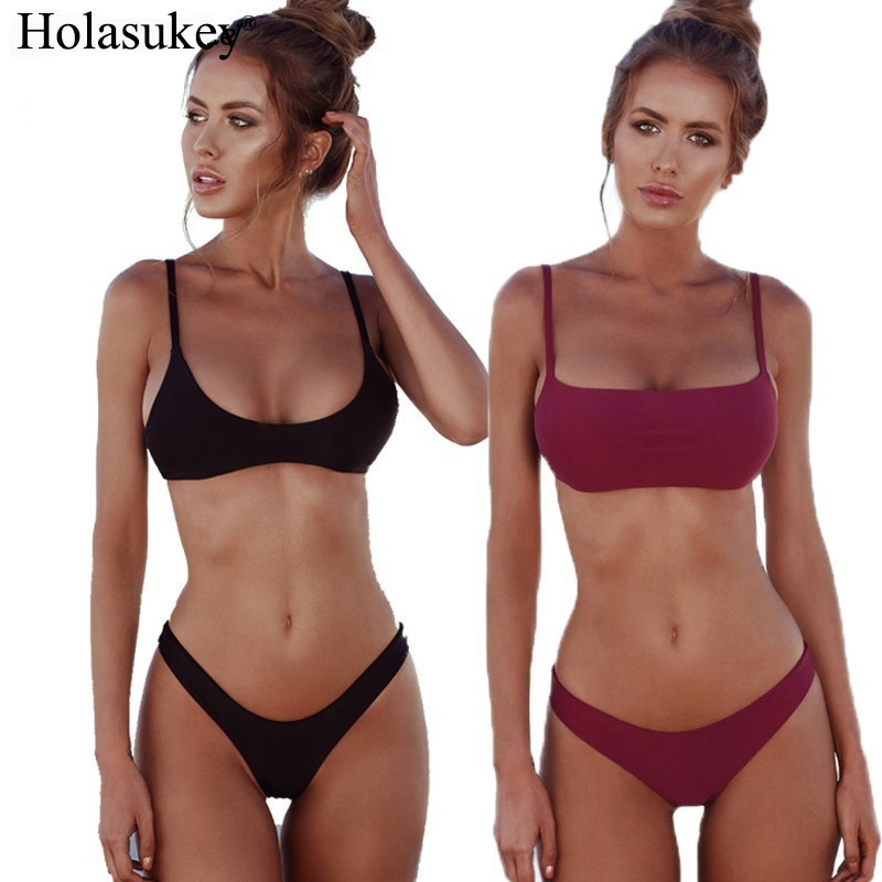 HolaSukey <font><b>Sexy</b></font> Solid Swimwear <font><b>2019</b></font> <font><b>Micro</b></font> <font><b>Bikini</b></font> Set <font><b>Brazilian</b></font> <font><b>Bikinis</b></font> <font><b>Thong</b></font> Beach Wear Woman Swimsuit Bathing Suit biquini image
