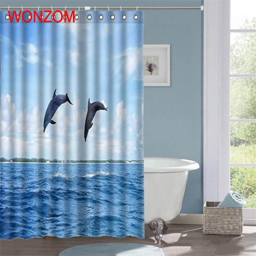 WONZOM Swan Polyester Curtains with 12 Hooks For Bathroom Decor Modern Dolphin Bath 3D Waterproof Curtain 2018 New Accessories