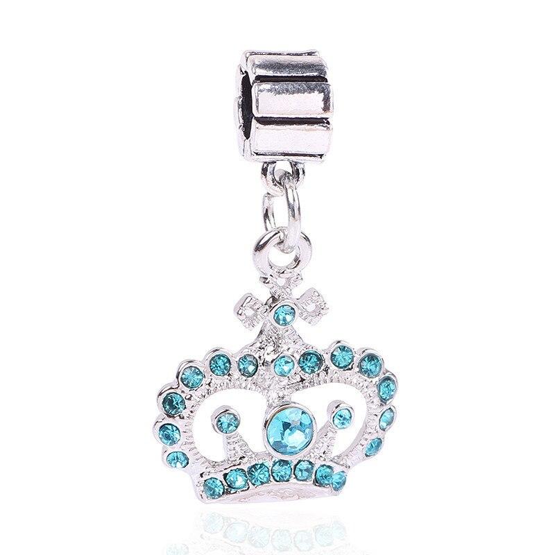 Ranqin Silver color Crown Charm Necklace Pendant 2018 Women High Quality Beads Fit Pandora Charm Bracelets Pendants DIY
