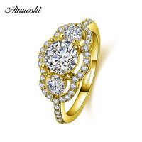 AINUOSHI 10k Solid Yellow Gold Flower Ring 1ct Round Cut 3 Stones SONA Diamond Ring Woman Wedding Engagement Jewelry Bridal Band
