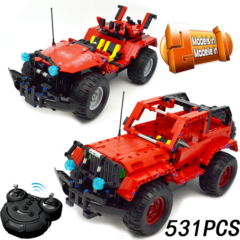 531pcs 2in1 Technic Series RC Remote Control Racing Car Off-road Warrior Building Block compatible with legoing toy for children