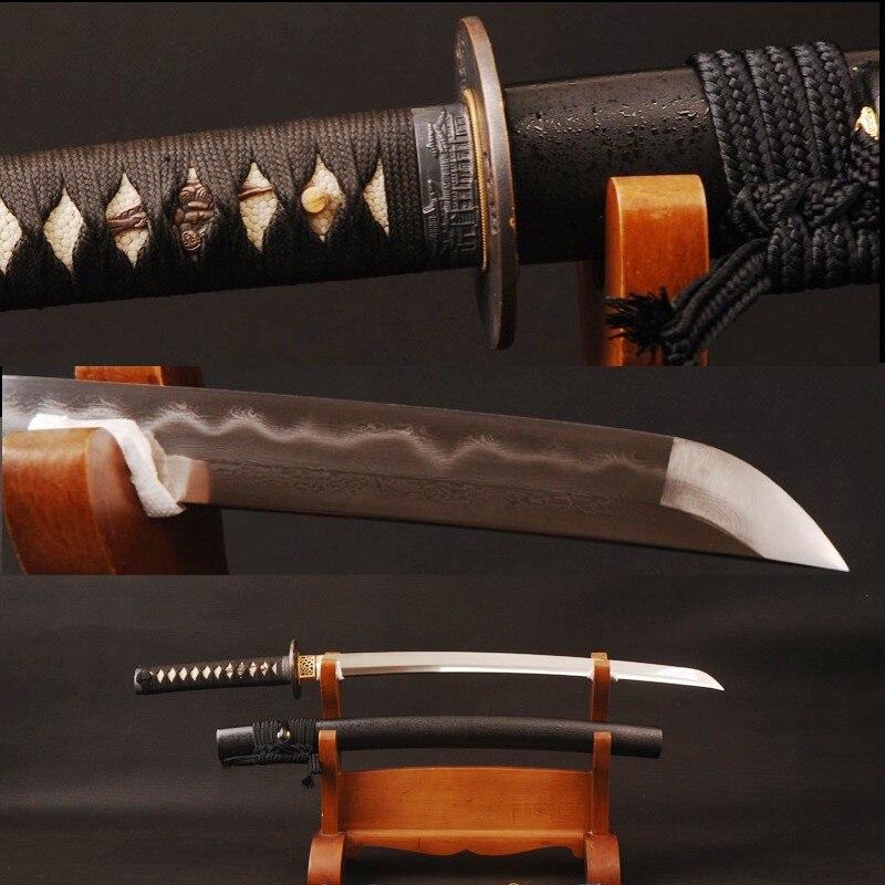 Vintage Japonais Épée En Acier Plié 32768 Couches Argile Trempé Lame Pleine Saveur de Bord Pointu Main Utile Samurai Wakizashi 986