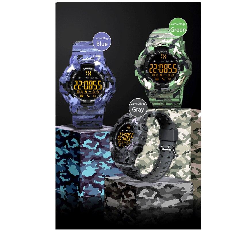 Купить с кэшбэком Sport Smart Watch men outdoor camouflage Bluetooth Smartwatch Fitness Motion tracking Alarm Clock Waterproof Wristwatch