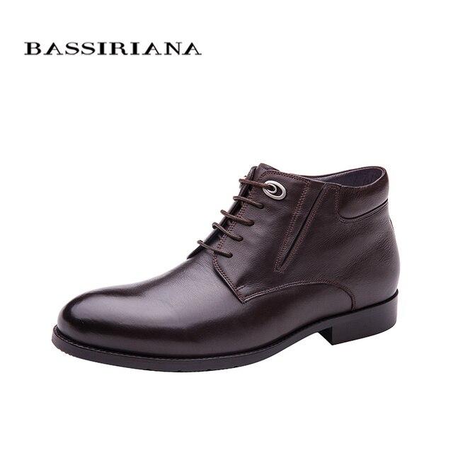 BASSIRIANA зима 2017 классическая модель натуральная кожа мужская зимняя обувь на шнуровке Натуральный мех Большие размеры 39-45 Удобные ботинки для мужчин Бесплатная доставка