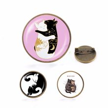 Funny animal pin Cats badge brooch Lapel pin for Denim Jean shirt bag Cartoon Jewelry Gift for women kids(China)