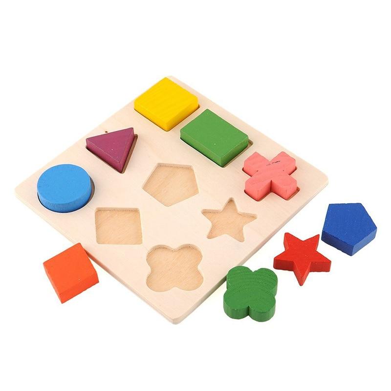 Niños Bebé Aprendizaje De Madera Geometría Juguetes Educativos - Juegos y rompecabezas