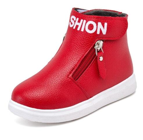 New Autumn Winter Children Boots Boys Pu Leather Shoes Fashion Girl Martin Boots Waterproof Kids Boot Botas Ninas