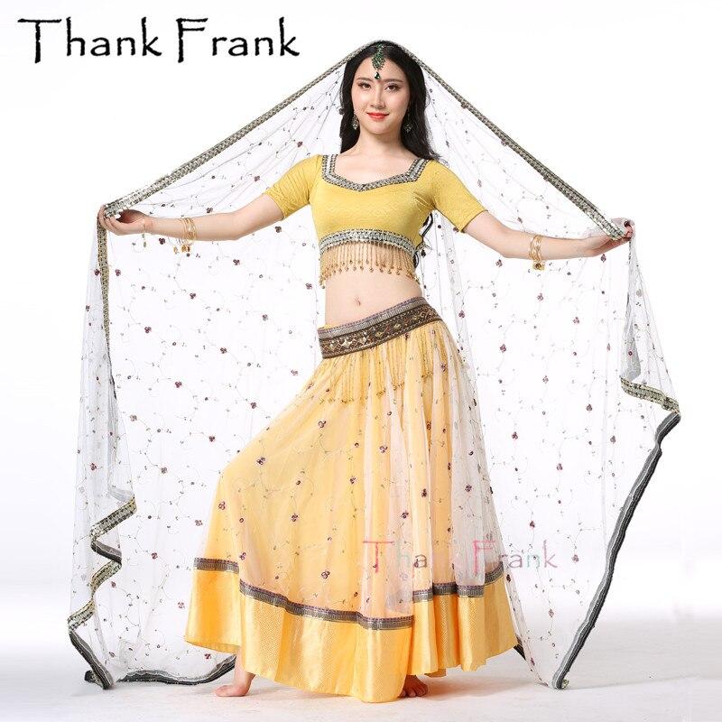 4 pièces Ensemble costumes de danse Du Ventre sur Scène Femmes Main-brodé Bollywood Costume Indien vêtements de représentation (Haut + Ceinture + Jupe + Sari)