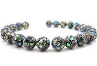 1Strand 10mm 20mm Rhombus Natural Paua Abalone Mosaic Ball Round Shell Jewelry Making Loose Beads 15