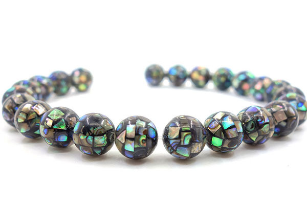 1Strand 10mm 20mm Rhombus Natural Paua Abalone Mosaic Ball Round Shell Jewelry Making Loose Beads 15