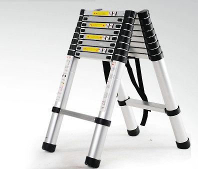 2m Retractable Folding Aluminum Herringbone Ladder, Multi-purpose Home/library/engineering Ladder