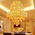 Золотая круглая лампа с кристаллами  персонализированные потолочные светильники для спальни  ресторана  OLU-0008