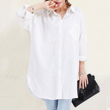 Office Lady OL Loose Elegante women shirt Blouse white Button Pockets Long large size Cotton Linen Solid summer oversized tunic