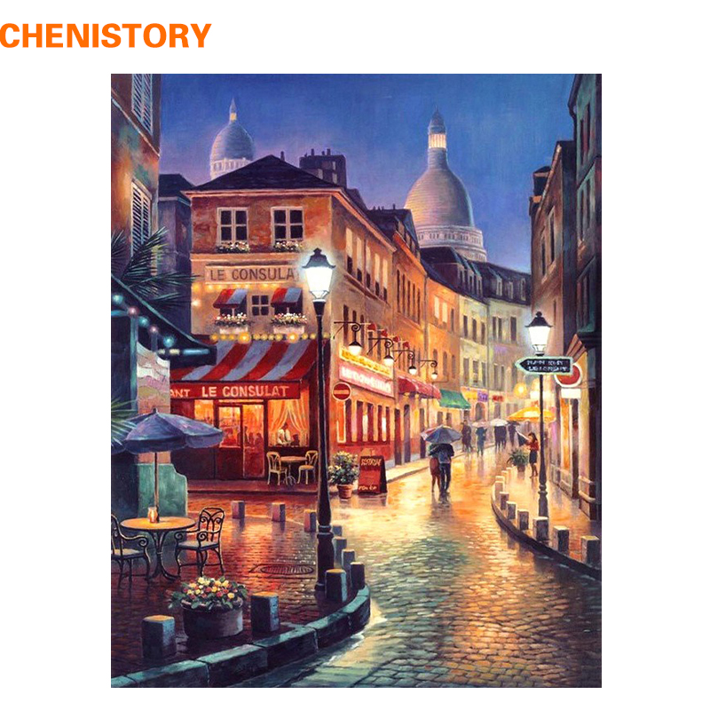 CHENISTORY City Street Night Landscape DIY Painting By Numbers Kit Hand Painted Oil Painting For Home Decor Gift Artwork 40x50cm