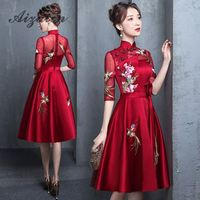 Red Embroidery Chinese Traditional Dress Qipao Bride Cheongsam Mini Dress Vestidos Chinos Oriental Wedding Gowns Party Dresses
