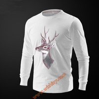 Autumn New Arrival Long Sleeve Tees Unisex Deer Printing T Shirts Cotton Winter Tops White