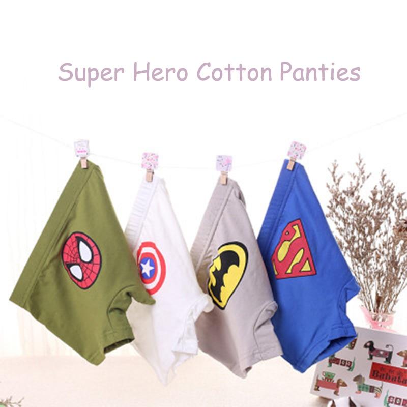 3-12 years kids cotton underwear   panties   Spiderman Batman male cartoon printed   panties   child boys comics boxers briefs   panties