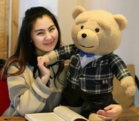 new creative plush teddy bear doll lovely Plaid suit Ted bear toy gift about 60cm