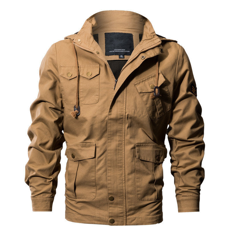 MORUANCLE Mens Casual Cargo Jacket outerwear Military style Tactical Jackets And Coats With Hood Multi Pockets Plus Size M-6XL