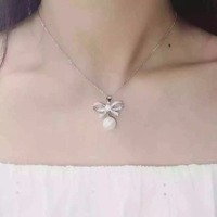 TN017 925 Sterling Silver Bow With Pearl Necklace 16 2inch
