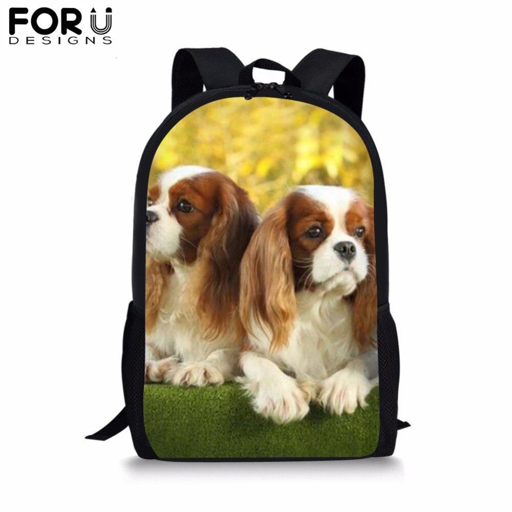 FORUDESIGNS Spaniel Dog Print School Bags For Kids Boy Girls Black Backpack Bolsa Teenage Child 16 Inch Bookbag Mochila Satchel