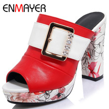 ENMAYER Sexy Red High Heels White Shoes Woman Peep Toe EVA Summer Sandals Plus Size 34-42 Party Shoes in Womens Sandals Shoe цена 2017
