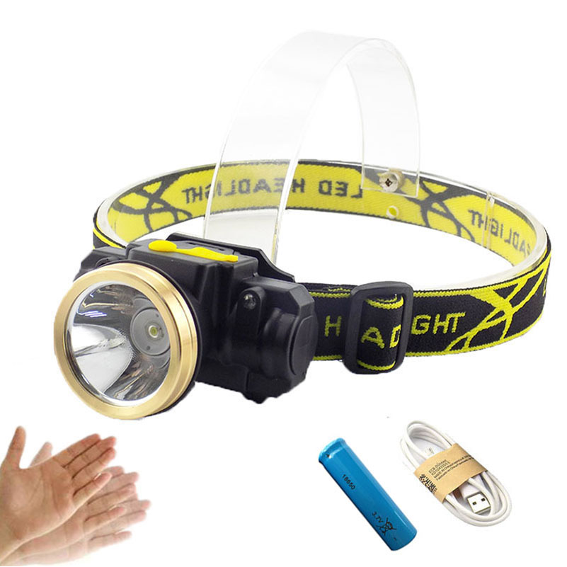 Mini LED Headlamp Sensor Motion Headlight Rechargeable head light Outdoor Camping Flashlight Head Torch Lamp USB charging Cable r3 2led super bright mini headlamp headlight flashlight torch lamp 4 models