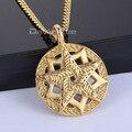 2-Layer Pentacle Pentagram Star Circle Mens Boys 316L Stainless Steel Pendant Necklace DLHPM40