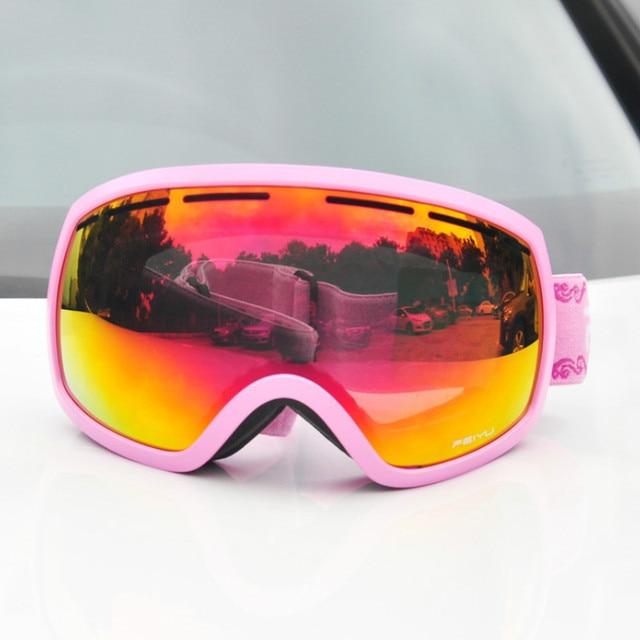 f7a42d90ed93 Women Double Lens Ski Goggles Windproof Anti-fog UV Big Ski Glasses Men  Skiing Snowboarding