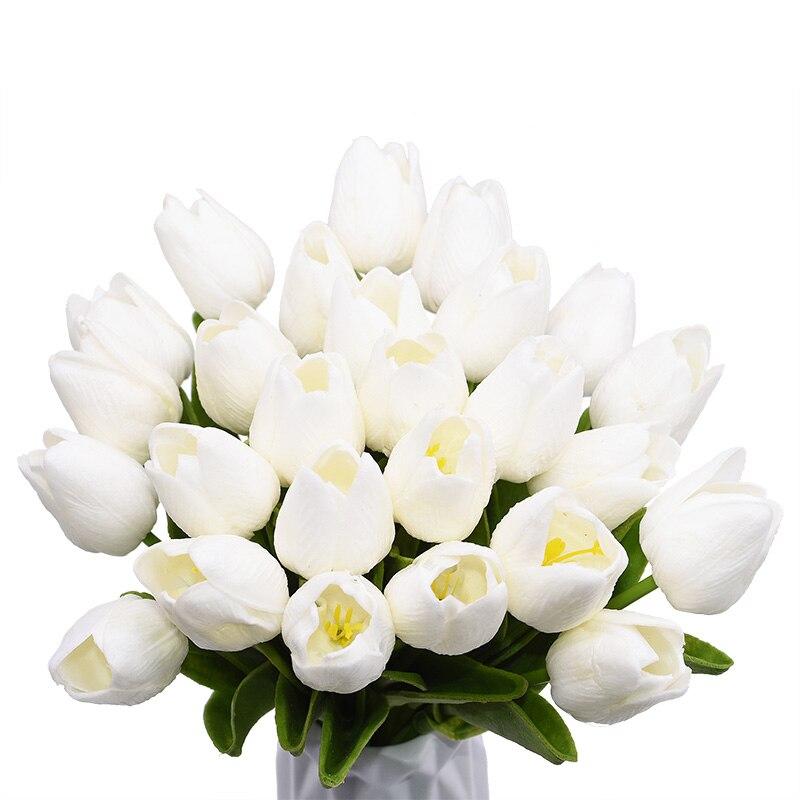 5/10/30 Uds 3,5 cm tulipanes Real toque flores PU ramo de flores Artificial para flor decorativa para el hogar Decoración de la boda Vintage Tulip forma carillón de viento japonés campana colgante Feng Shui de hierro de jardín de casa ventana Cafe Bar decoración colgante de pared-