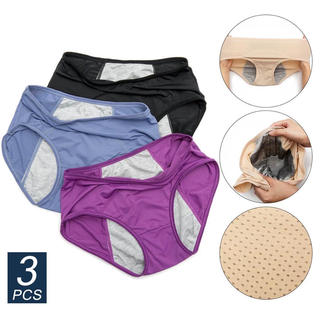 3pcs Women Underwear Physiological Panties Menstrual Period Leak Proof Women's Cotton Breathable High Waist Warm Female Briefs