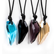 Men Antique Crystal Stark Wolf Fang Tooth Pendant Necklace Vintage Wolf Tooth Dragon Rhinestone Pendant Necklace jewellery(China)