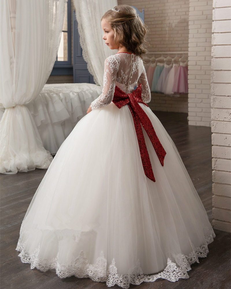 2017 new long sleeves white ball gown flower girl dresses french lace beaded first communion dress with sequin bow and sash 4pcs new for ball uff bes m18mg noc80b s04g