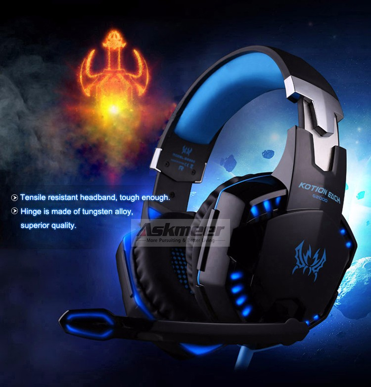 EACH G2000 Over-ear Gaming Headphone Headset Earphone With Mic Stereo Surrounded Bass LED Light For PC Game (12)