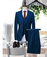 2018 New Arrival Custom made BLUE Tailcoat Men Suit Set Slim Wedding Suits Mens Groom Tuxedos(jacket+Pants+vest tie)high quality