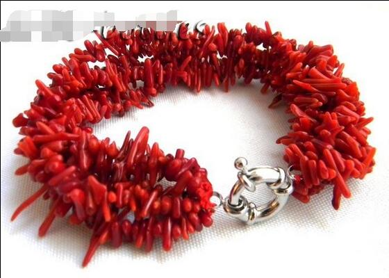 Wholesale price 16new ^^^^ Amazing 5Strands 18'' 7MM Dendritic Coral Bracelet
