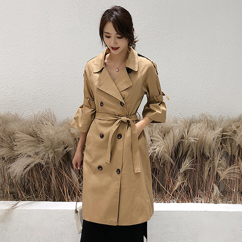 Women's khaki   trench   coat with belt British style classic double breasted flare sleeve long   trench   coats for women windbreaker