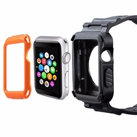 NEW Rugged Protective Case With Strap Bands For Apple Watch Series 1 38mm 42mm Watchband Strap