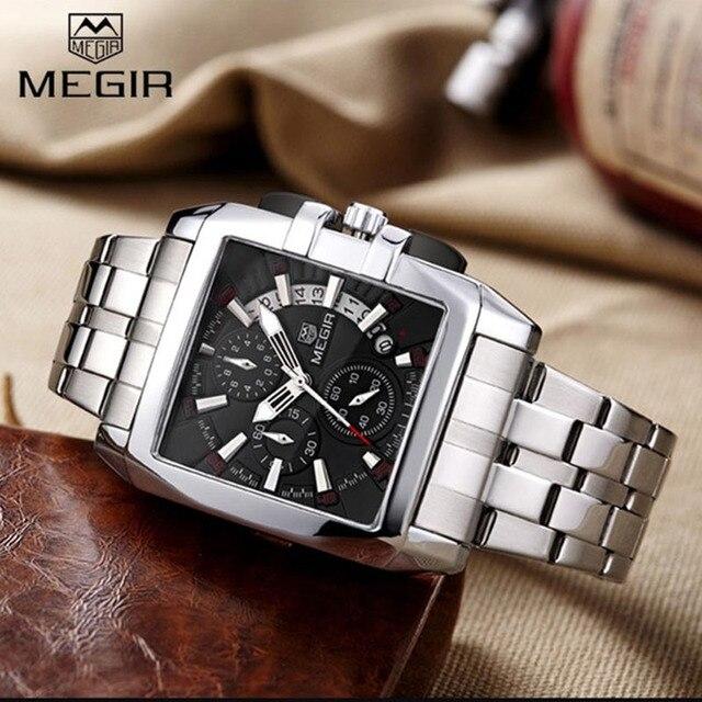 67ae1840b5251 Megir 2018 Top de Luxo Da Marca Homens Relógios Chronograph Relógio de  Pulso Homem Hora Calendário