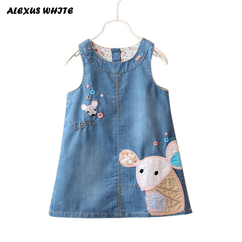 2018 Summer Style Denim Sundress For Girls Cowboy Dress Kids Clothes Brands autumn princess Cartoon Mouse Overalls Jeans Dress цены