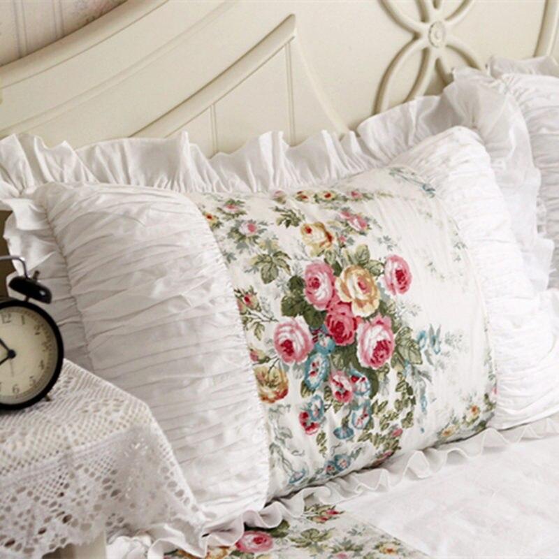 2pcs pillow case European pastoral ruffle lace pillow cover handmade wrinkle pillow cases embroidered pillow sham no filler|Pillow Case|Home & Garden - title=