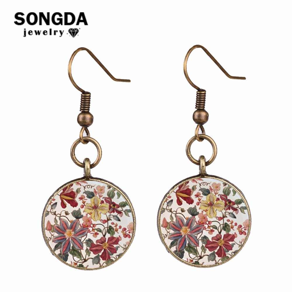 SONGDA Charm Retro Henna Flower Pattern Earrings Oorbellen Clear Glass Photo Cabochon Drop Earrings Mandala Buddhism Zen Jewelry