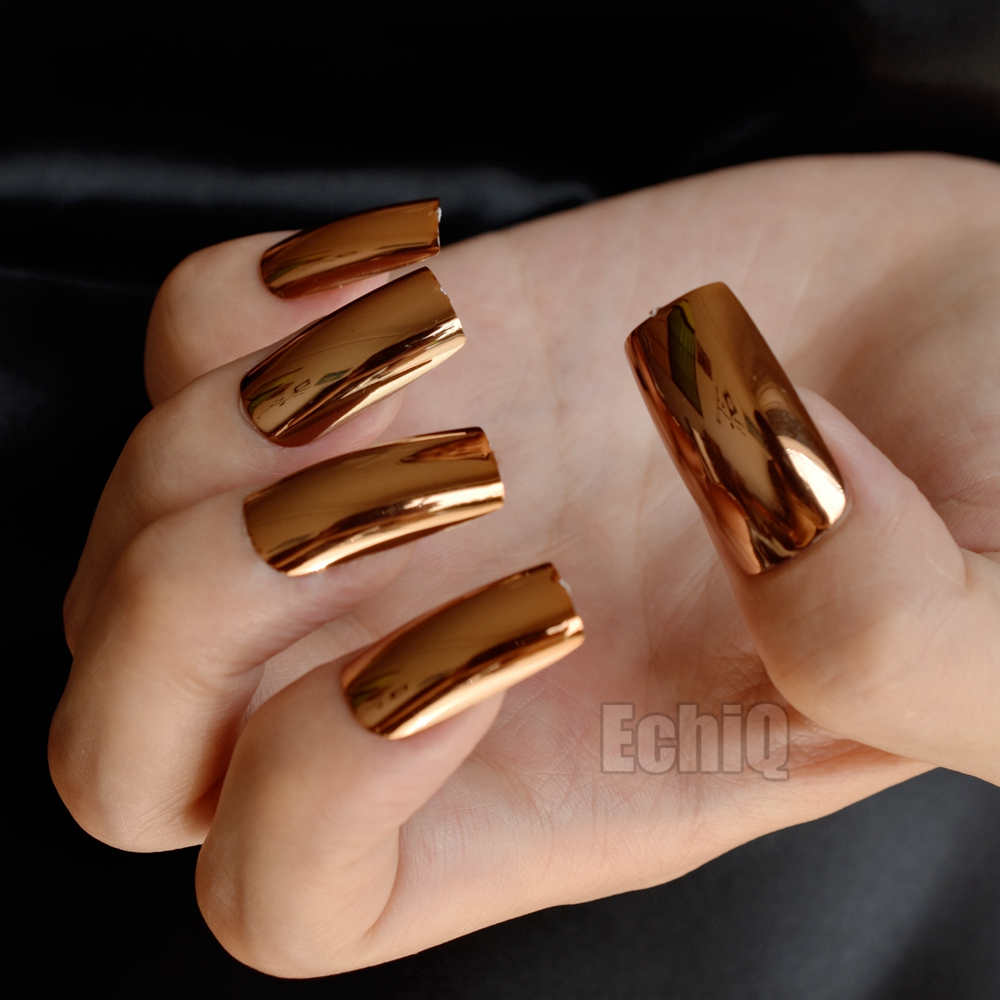 20pcs/kit Shinning Champagne Metallic False Nails Extra Long Mirror ...