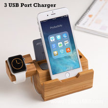 Cell Phone Charger Dock with Watch Holder Desk Bamboo Wood Charging Stand For Apple Watch Charger For iPhone 7 8 Plus X Charger(China)