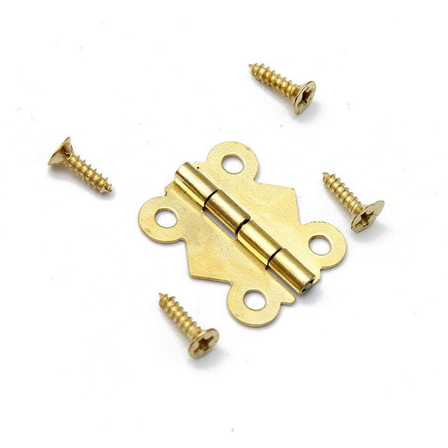 10pcslot Fashion Design Brass Color Mini Butterfly Hinges Iron